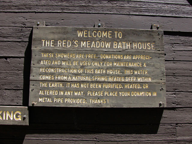Red's Meadow Bath House in Reds Meadow Campground - Nice hot spring showers!